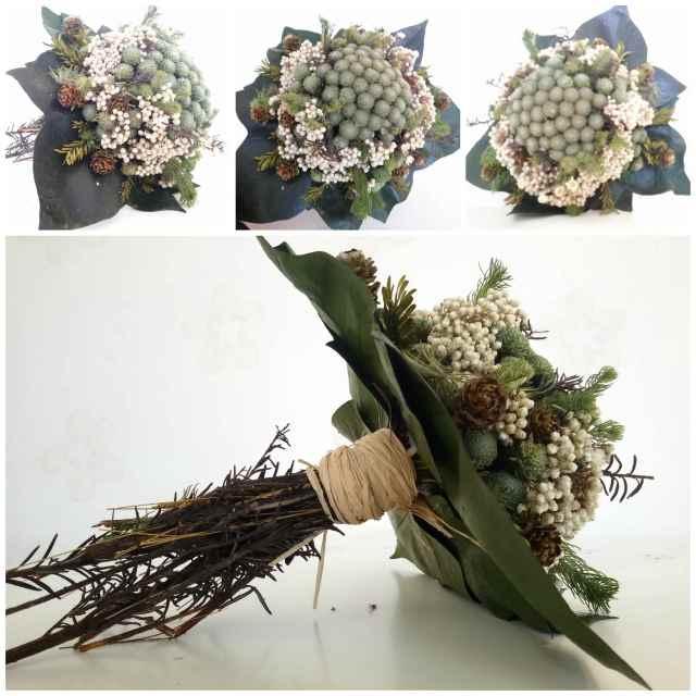 Ramo Silvestre- Bouquet con hojas de Hiedra en Blanco y Verde
