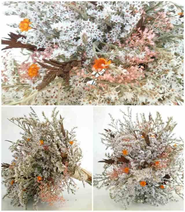 Ramo Bouquet Silvestre  con totorica,  espigas y flores naranjas.