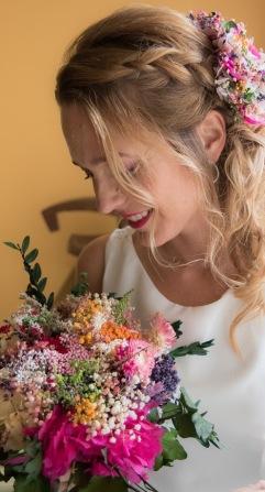 Omaira - Vestido,tocado y ramos de flores preservado NOVELLE. Foto-Edu de la Parte