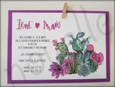 NOVELLE invitación hecha a mano personalizada SOBRE MALVA A5