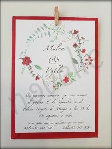 NOVELLE invitación hecha a mano personalizada FLORES ROJAS