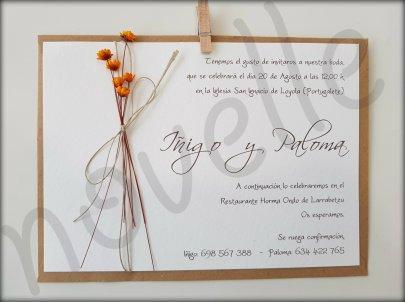 NOVELLE invitación hecha a mano personalizada GLIXIA NARANJA
