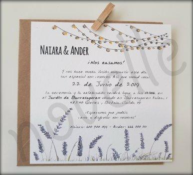 NOVELLE invitación hecha a mano personalizada FAROLILLOS Y LAVANDAS