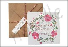 NOVELLE invitación hecha a mano personalizada CORONA FLORES ROSADAS